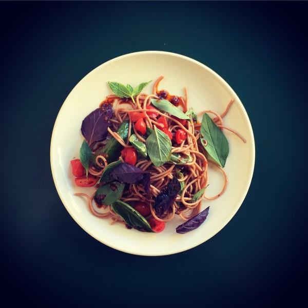 cold farro noodle, tomato, basil